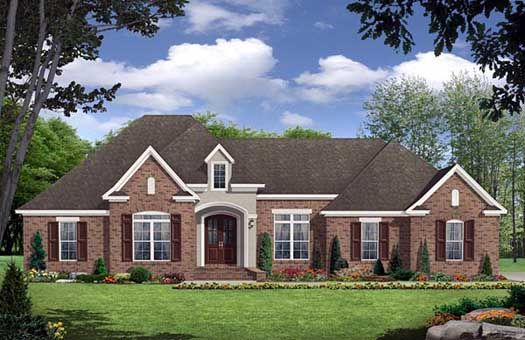 European Style House Plans - 2389 Square Foot Home , 1 Story, 3