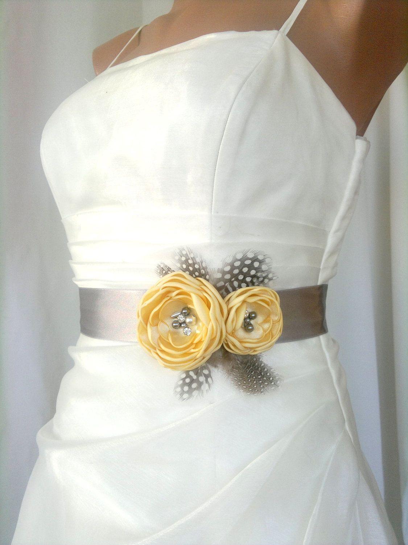 Bridal Belt Yellow Gray Bridal Sash Floral Bridal Belt Sash