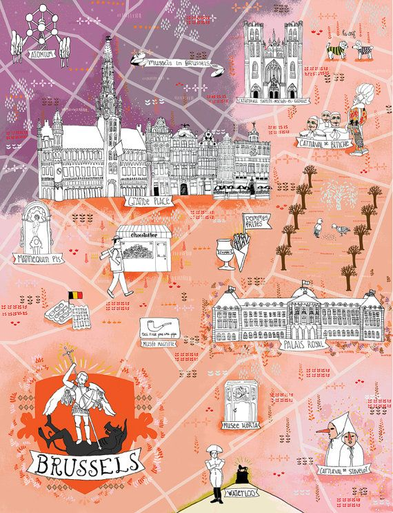 Illustrated Map of Brussels Belgium Favorite Places Spaces
