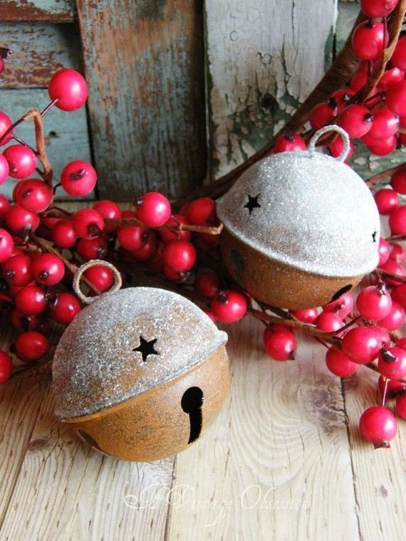 Rusty Glittered Christmas Bells by by AVintageObsession on Etsy