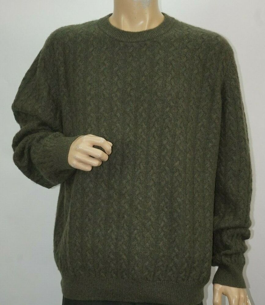 DAVIS AND SQUIRE 100% 2 PLY CASHMERE GREEN MENS CREW SWEATER