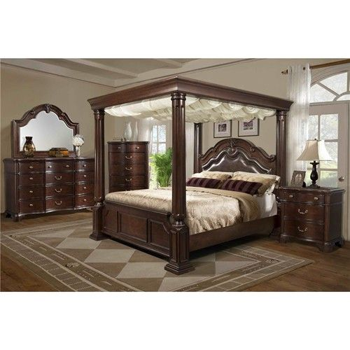 Elements International Tabasco King Canopy Bed Bedrooms
