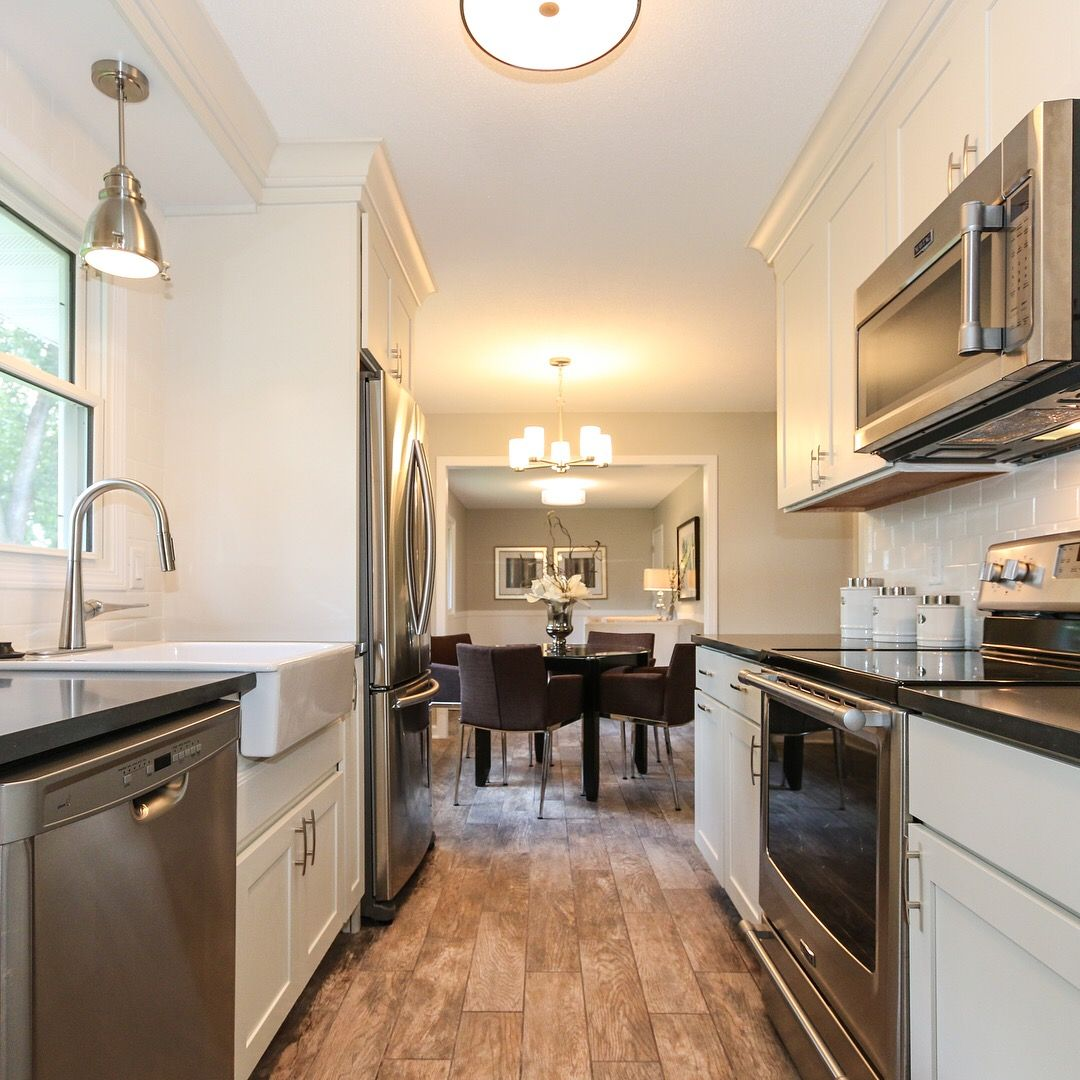 Remodeled Galley Kitchen From 1964 Rambler Farmhouse Sink White