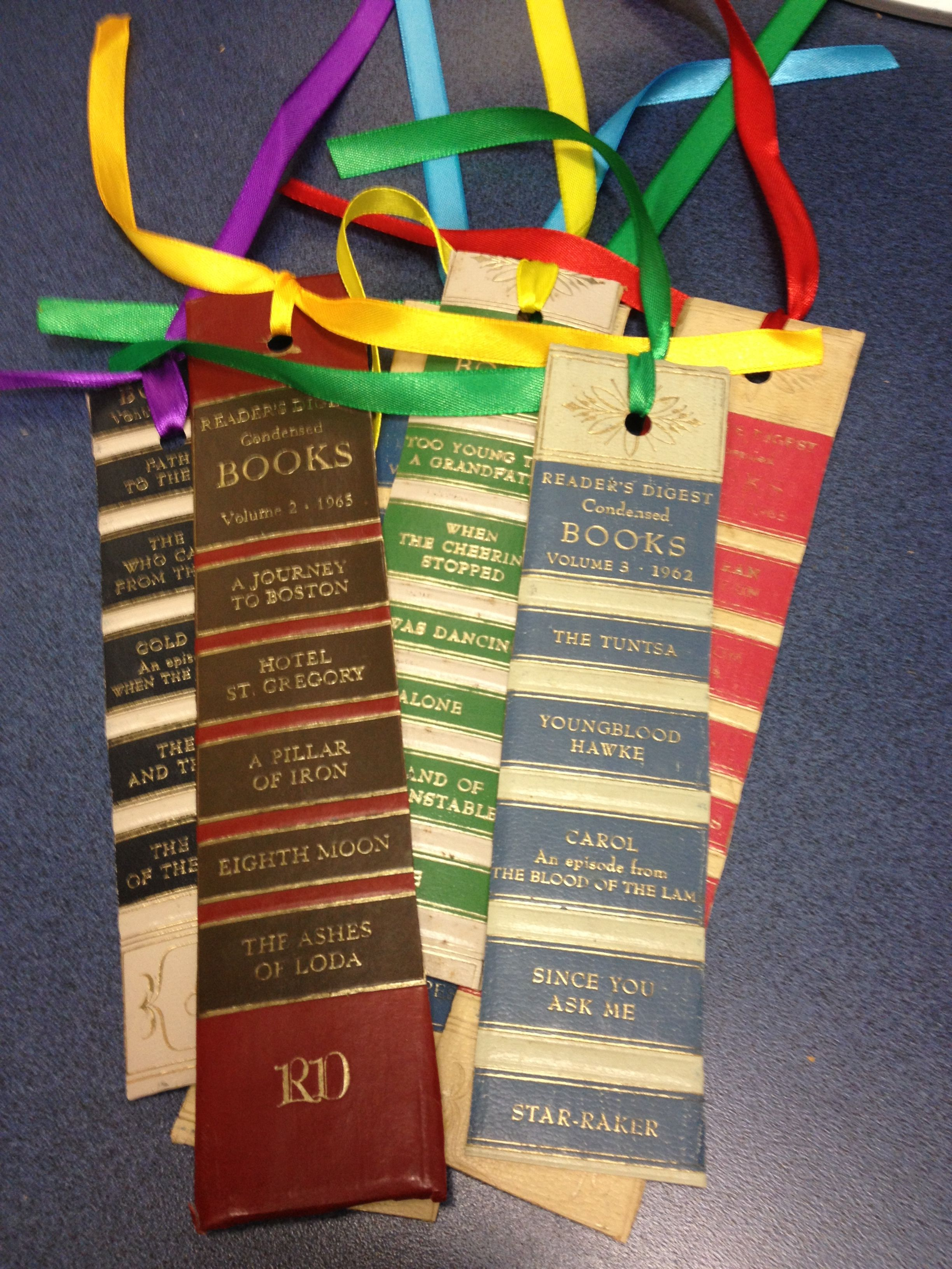 Bookmarks Made From Spine Of Old Reader S Digest Books Old Book Crafts Book Crafts Diy Old Books