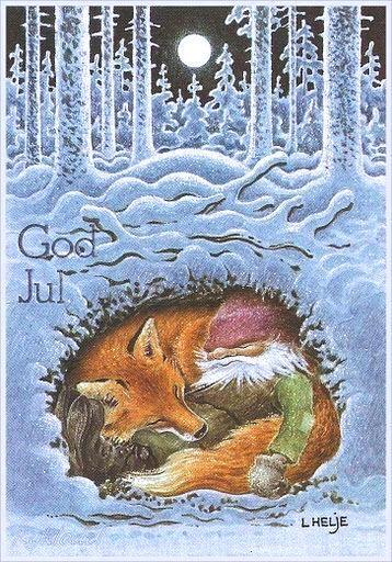 Tomten And Fox Christmas Art Swedish Christmas Art