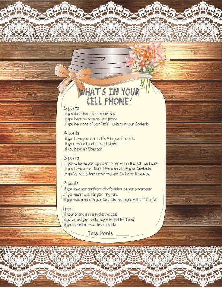 What\'s in your Cell Bridal Shower Game, Wedding Shower Game, Couples ...