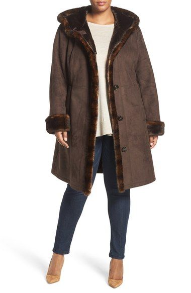54a83fe411c7a Gallery Faux Shearling A-Line Coat (Plus Size) available at  Nordstrom
