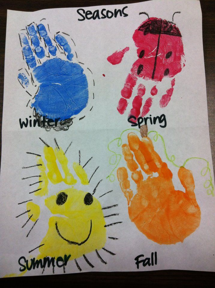4 Seasons Handprints Teaching Ideas Preschool Craft Activities