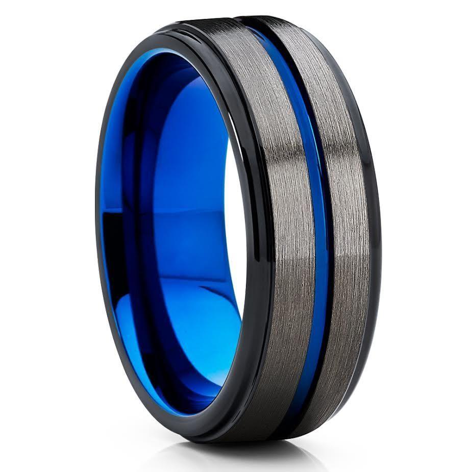 Blue Tungsten Wedding Band Gunmetal Black Ring 8mm: Wedding Band Gunmetal Blue At Websimilar.org