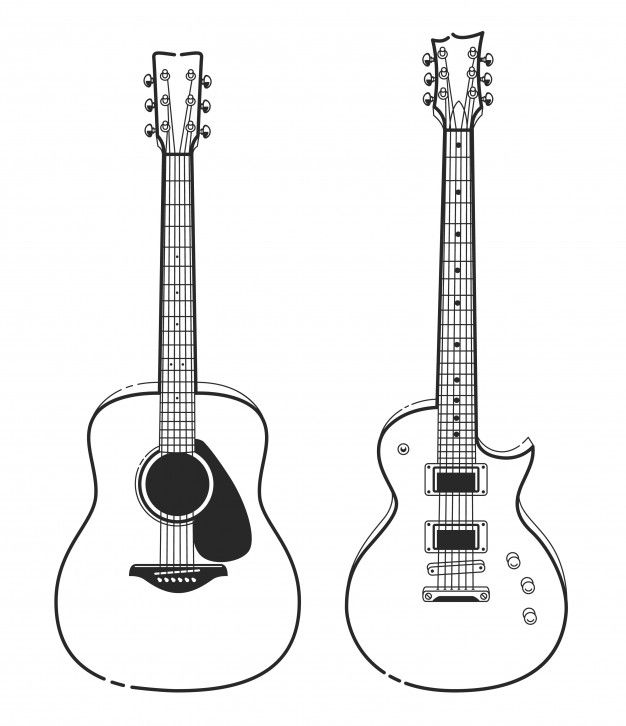Continuous Line Drawing Acoustic Guitar Music Instrument Vector Illustration Minimalist Design Line Art Drawings Line Doodles Line Drawing