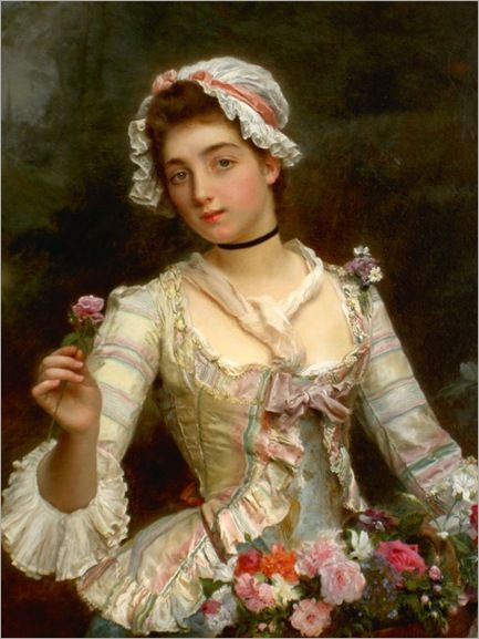 Gustave Jean Jacquet (1846 1909) Young woman with flowers