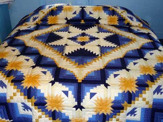Log Cabin Eureka Amish Quilt Blue And Gold Hand Quilted