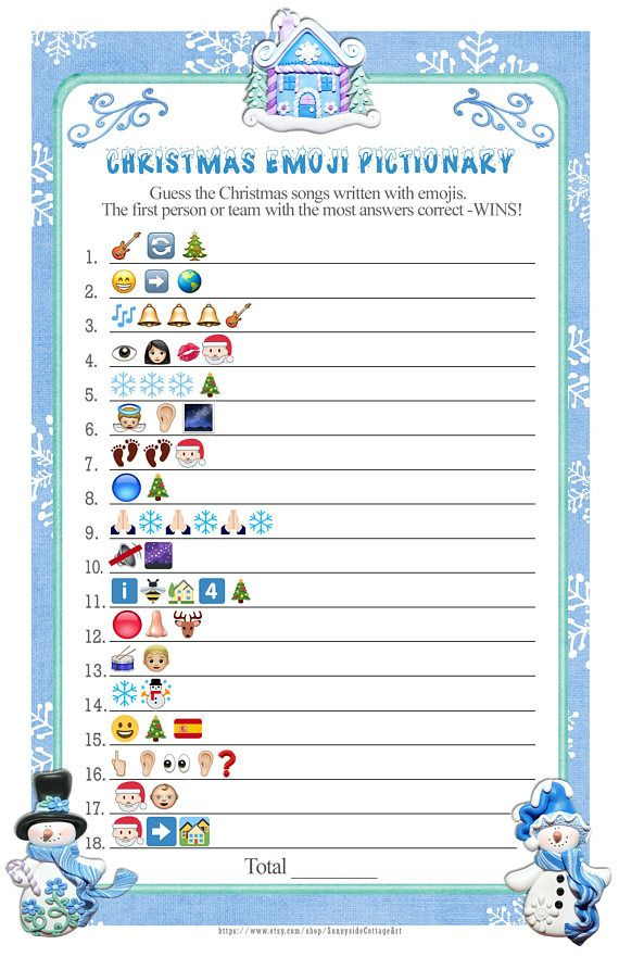 Emoji Christmas Songs Pictionary With Icy Blue Snowflakes Etsy In 2020 Christmas Party Games For Groups Christmas Party Games Emoji Christmas