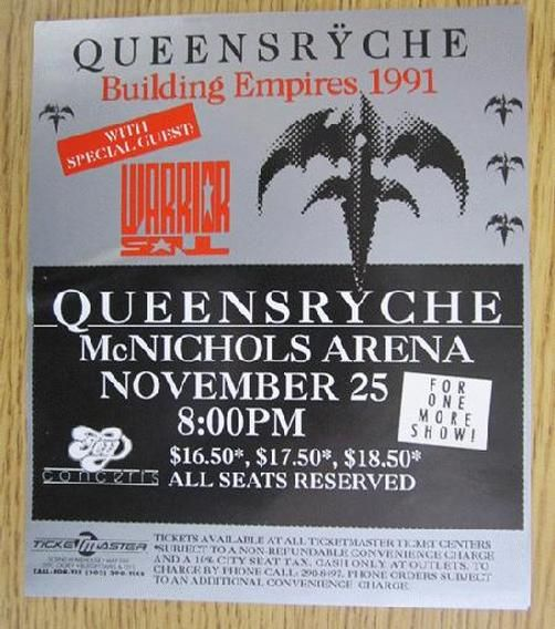 Original concert handbill for Queensryche at McNichols Arena