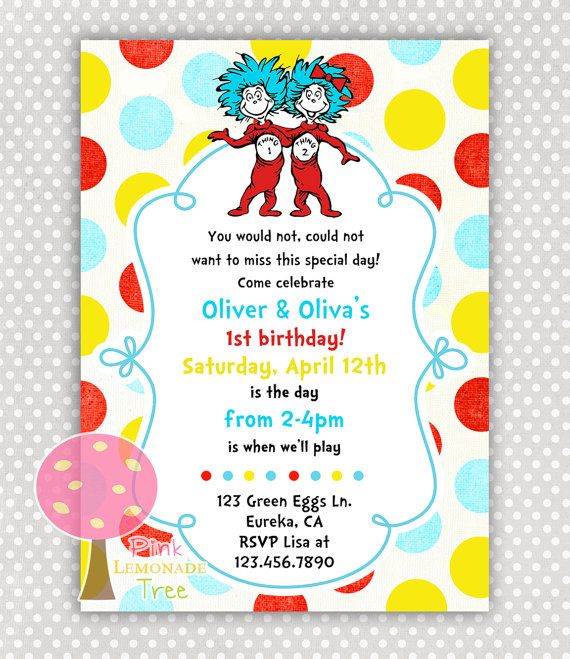 Thing 1 2 Twins Boy And Girl Birthday Party Invitation