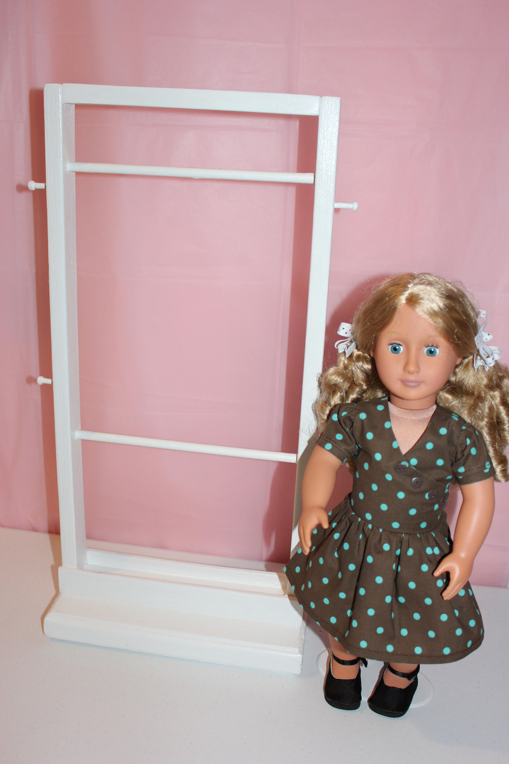Doll Clothes Rack,White Clothes Rack,Clothes Storage,Doll Furniture,18 Inch