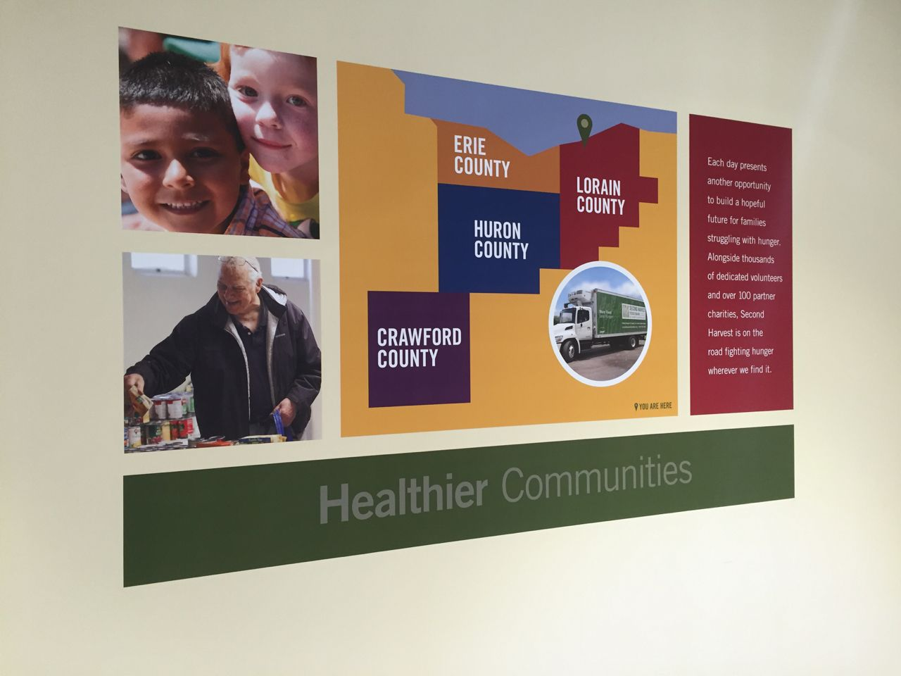 Hallway graphics give volunteers and visitors to second