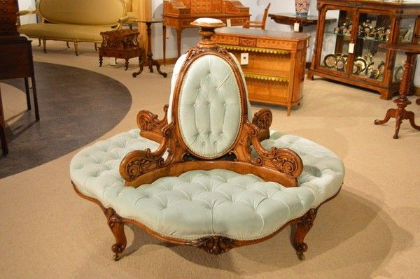 Explore antique settees and other rare antique furniture for sale from top  dealers at Online Galleries, the UK's number one source of antiques. - Rare & Stunning Victorian Period Walnut Antique Conversation Settee