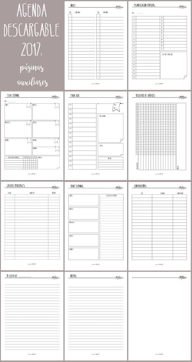 agenda 2017 descargable printables Pinterest Bullet, Journal