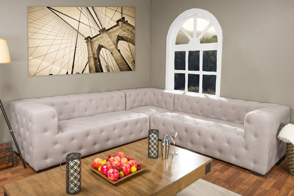 Baxton StudioVerdicchio Beige Linen Sectional Sofa | Affordable Modern  Furniture In Chicago
