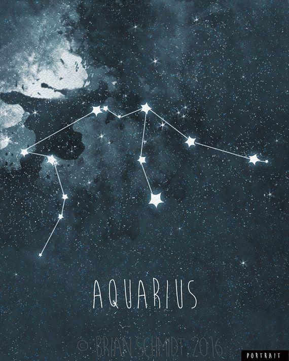 Aquarius Constellation Art Print, Stars Decor, Night Sky Wall Art, Astrology Print, Watercolo... #astrologyaesthetic