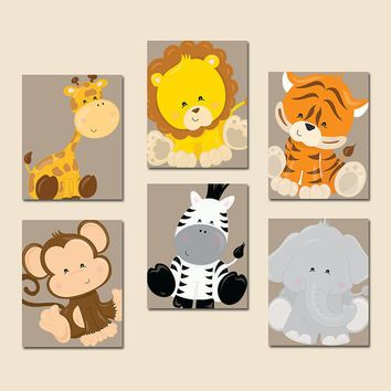 safari animals wall art jungle animals zoo animals baby boy