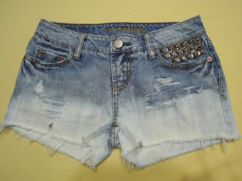 American Eagle Cut Off Shorts Studded Destroyed Size 0 | eBay