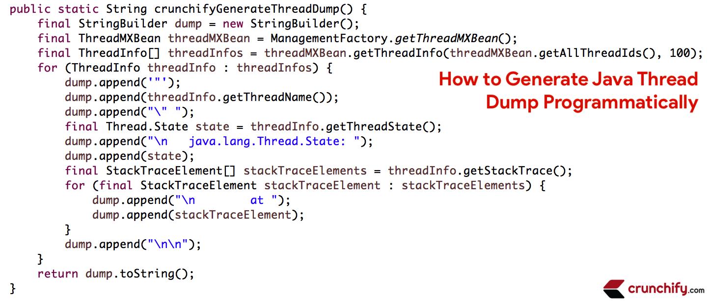 How To Generate Java Thread Dump Programmatically Java Thread