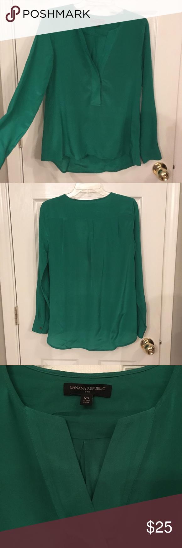 Size XS Emerald Green 100/% Silk Blouse