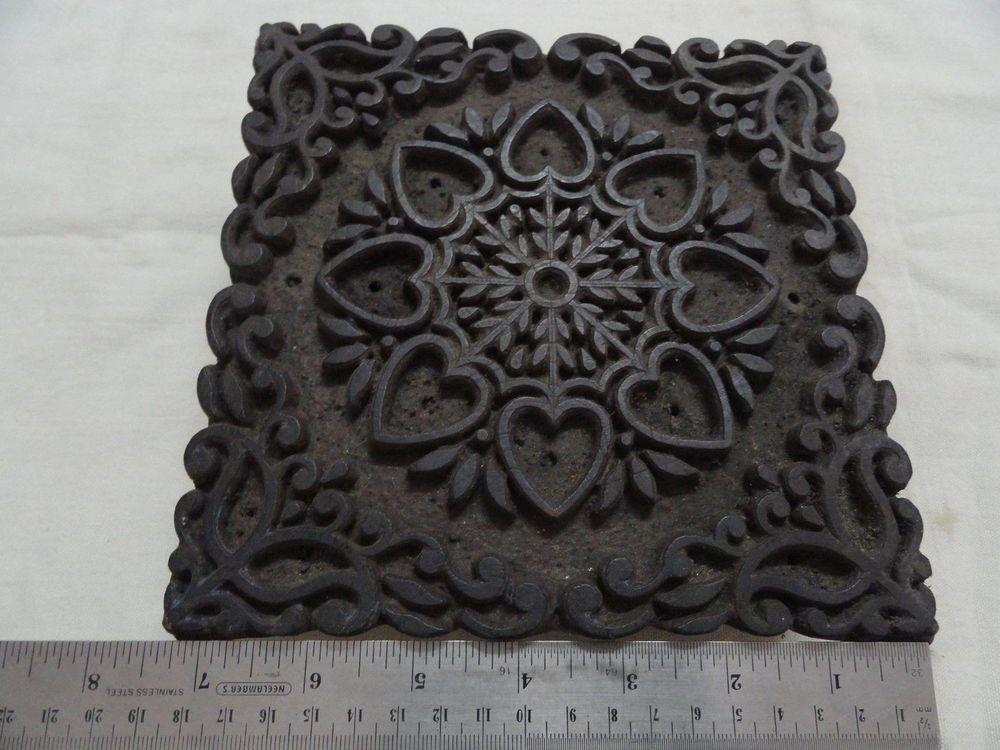 Single Vintage Indian Wood Printing Block Fabric Textile Stamp