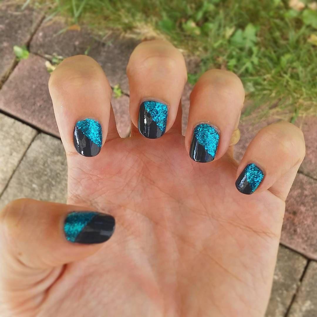 Dark Grey And Blue Glitter Diagonal Design P S My Short Nails Have Had Me