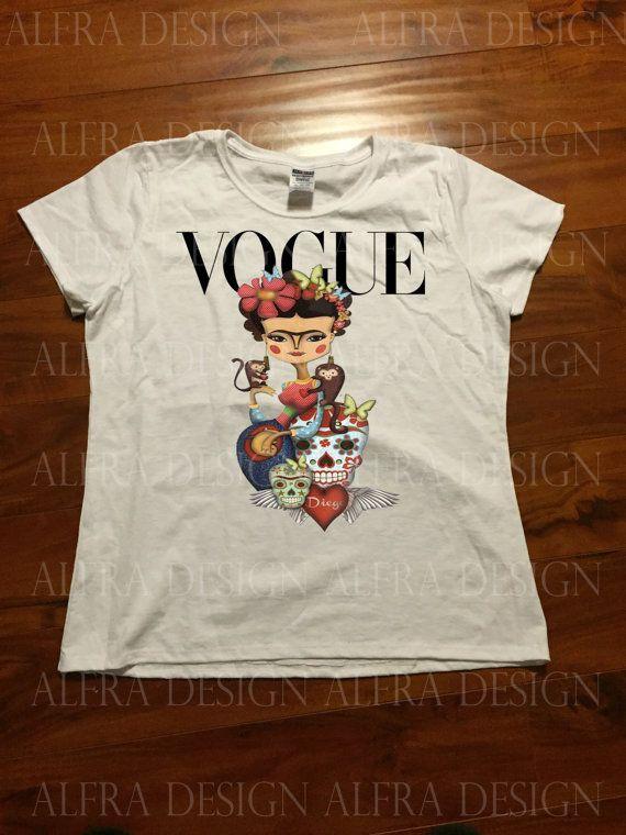da24f6a230f Frida Kahlo Inspired Cartoon Vogue Art T-shirt por AlfraUniqueGifts ...