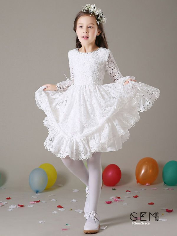 2cc6d33682e Simple All Lace Short Flower Girl Dress with Long Puffy Sleeves  EFY03 at   GemGrace