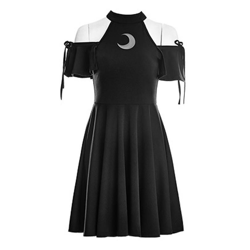 Gothic Wiccan Open Shoulder Moon Dress #emooutfits