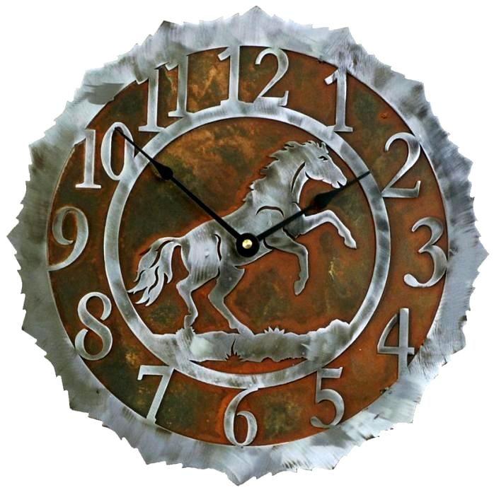 Stallion Rearing Horse Rustic Steel Western Wall Clock 18 Inch Decor Ironwood Industries