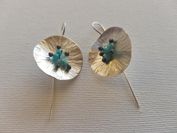 447e6fa3d Silver Circle Wave Earrings with Gemstones Pyrite and Amazonite in 2019    Etsy Israel arts and deco   Earrings, Silver, Gemstones