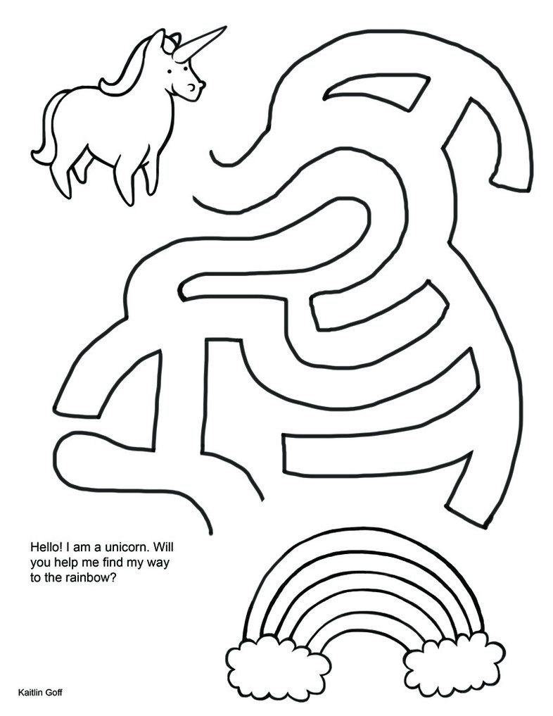 Unicorn Maze  Unicorn coloring pages, Mazes for kids, Drawing