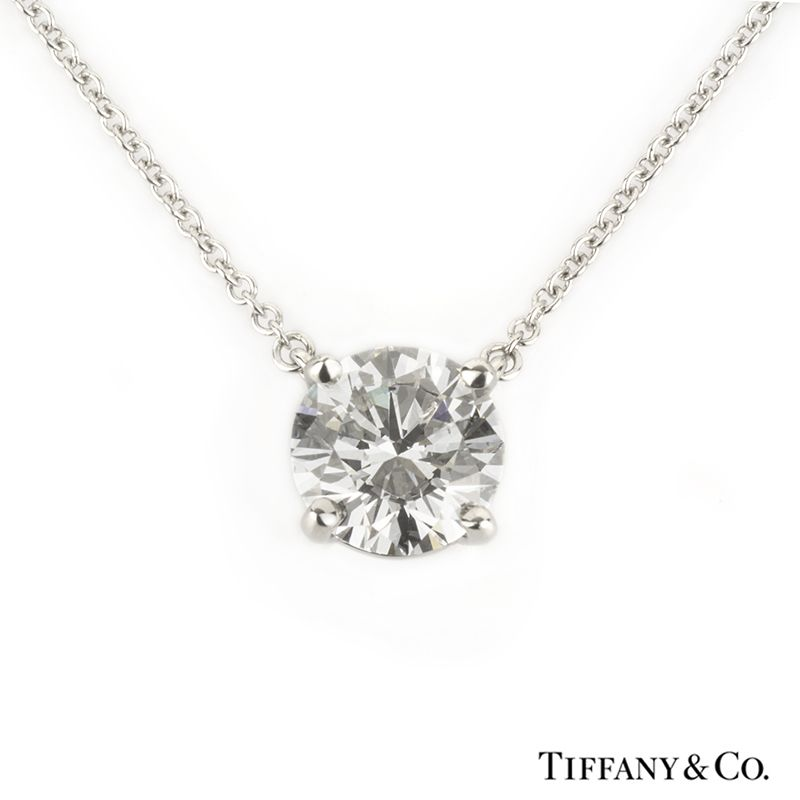831bead73 Tiffany & Co. Single Stone Diamond Pendant in Platinum 1.41ct D/VVS2 ...