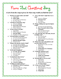 graphic regarding Printable Christmas Games With Answers called Printable Xmas Tune Alternatives Merry Xmas