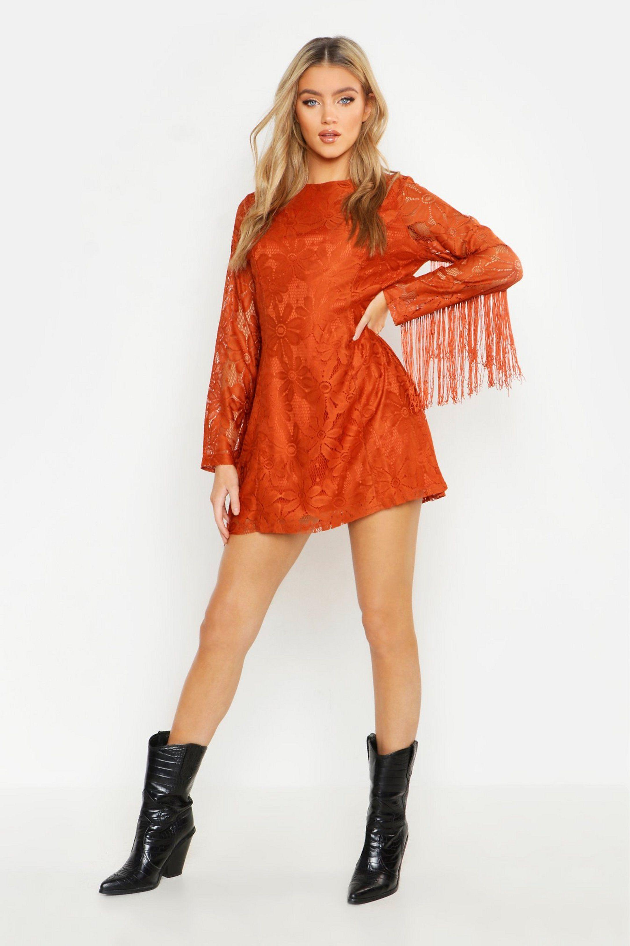 Tassel Sleeve Lace Shift Dress boohoo Bodycon fashion