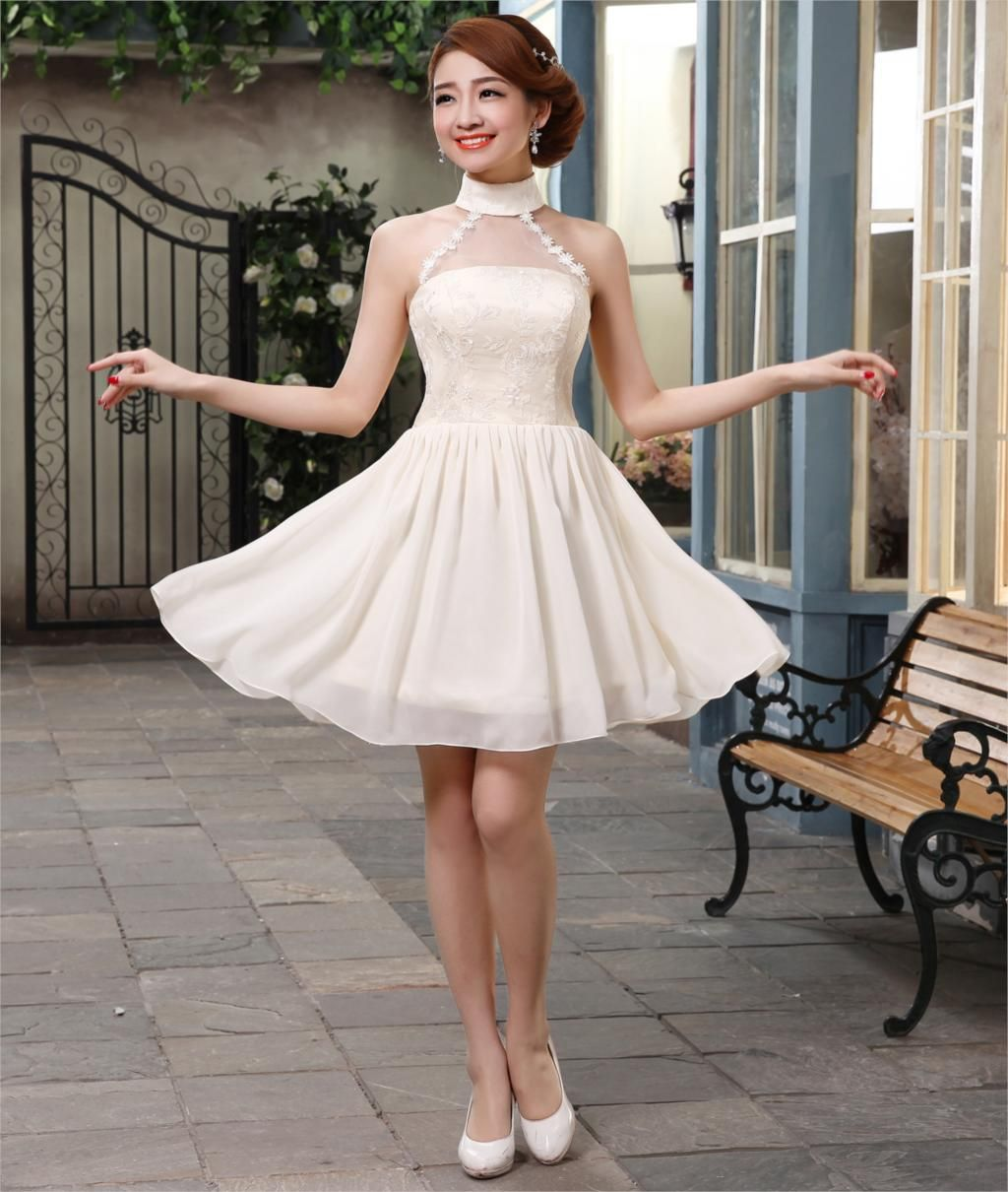 new arrival formal dress lace up evening dress short design