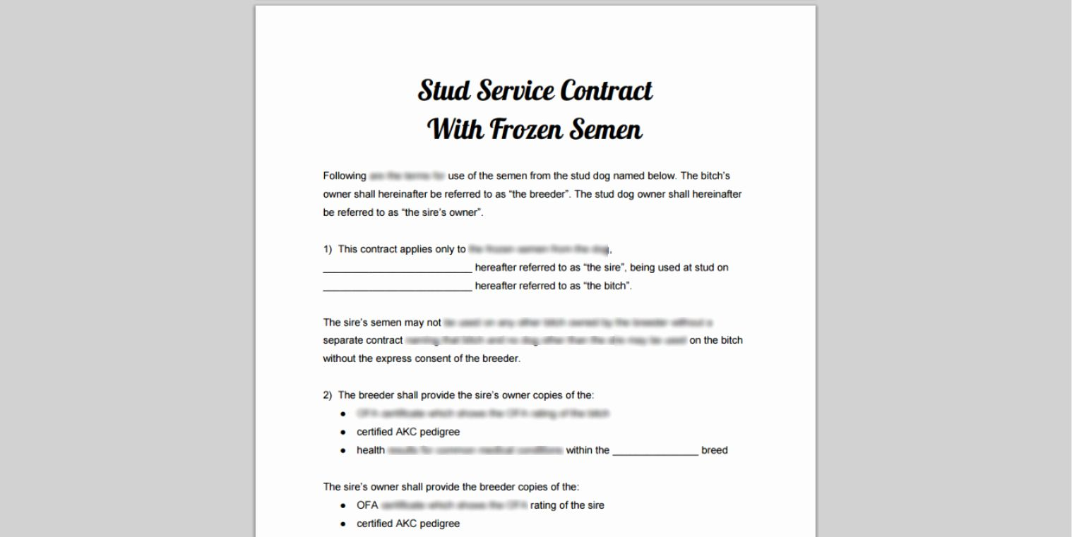 Dog training contract template unique stud service dog
