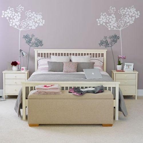 20coole ideen wandaufkleber design schlafzimmer lavendel ...