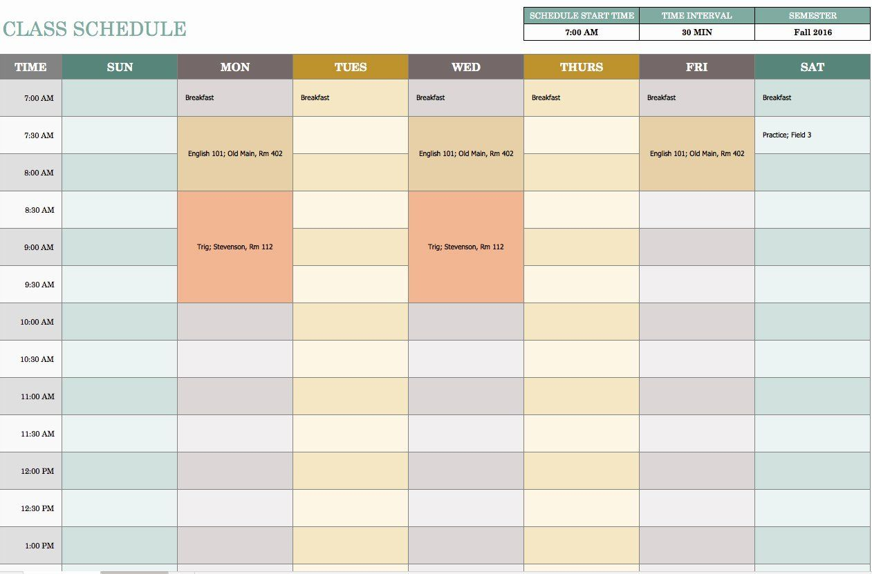 Week Schedule Template Excel Inspirational Free Weekly Schedule