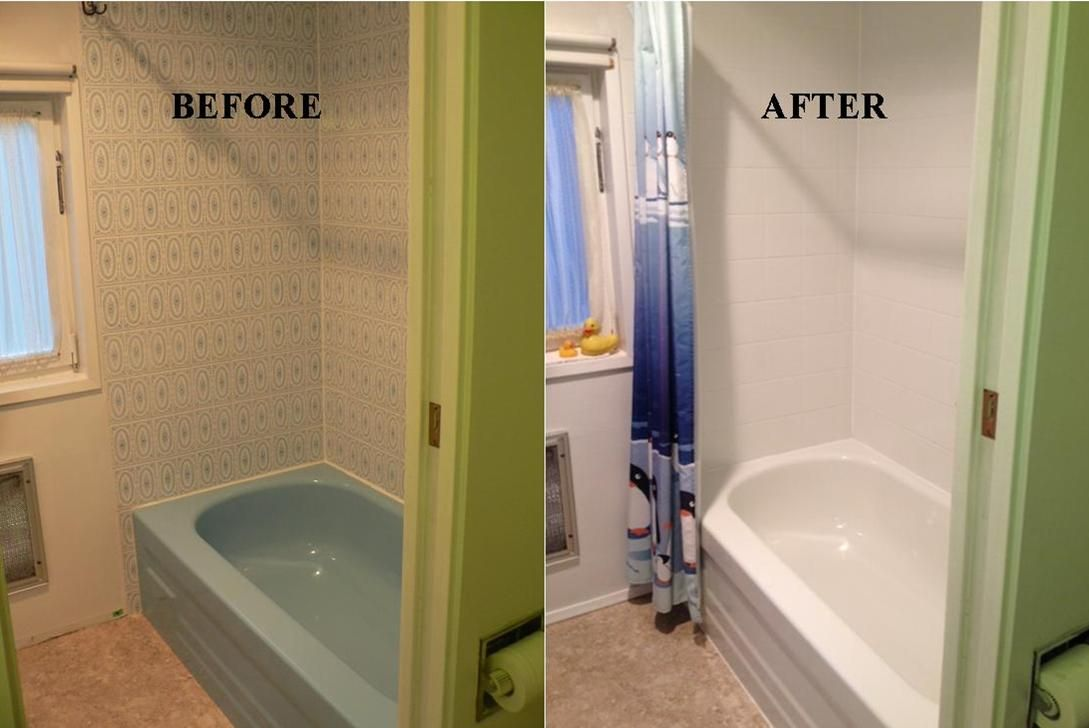 Make Your Tub And Tile Look Like New In One Day For A Fraction Of The Cost Of Replacing Www Almegaresurfacing Com Refinish Bathtub Reglaze Bathtub Bathtub