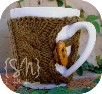 Knit Mug Cozy w/Button. (I\'m always meaning to make these and never ...