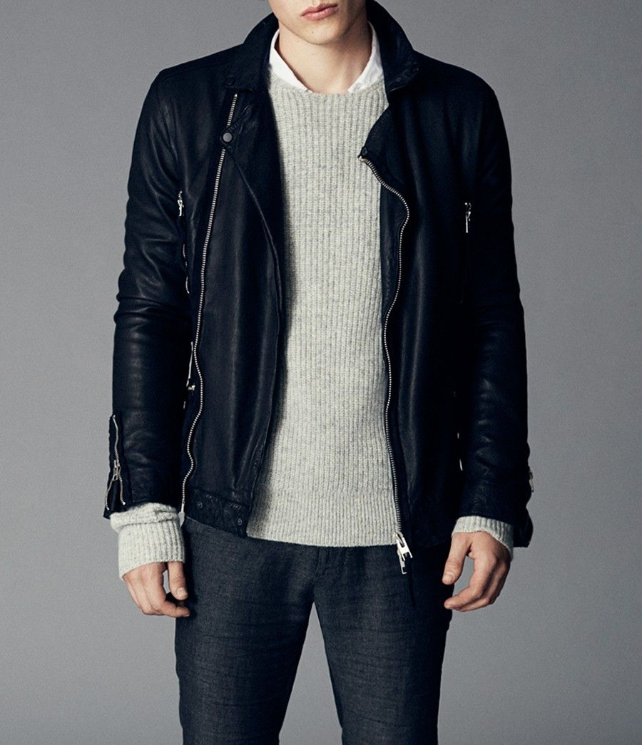 Allsaints Peyto Leather Biker Jacket Mens Leather Biker Jackets Leather Jacket Men Mens Leather Jacket Biker Leather Jacket [ 1045 x 900 Pixel ]