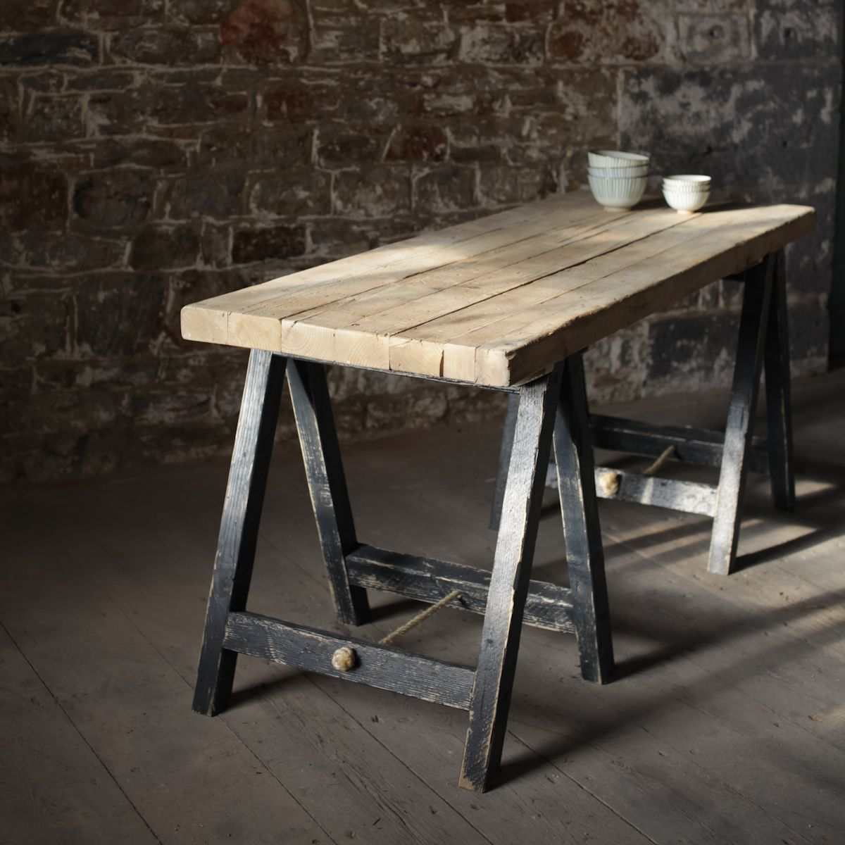 Lomwe Trestle Table The Lomwe Trestle Table Is Handmade From Reclaimed Boards And Completed With Distress Wooden Trestle Table Outdoor Wood Table Trestle Table