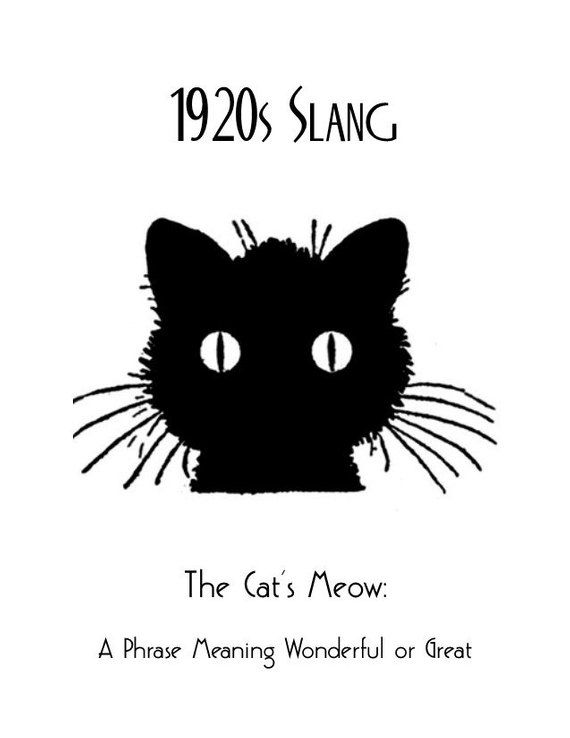 1920s Art Deco Slang Poster, Cats Meow Poster, Vintage Black Cat Poster, Art Deco Great Gatsby Idioms Saying Phrases, Gift for Cat Lovers