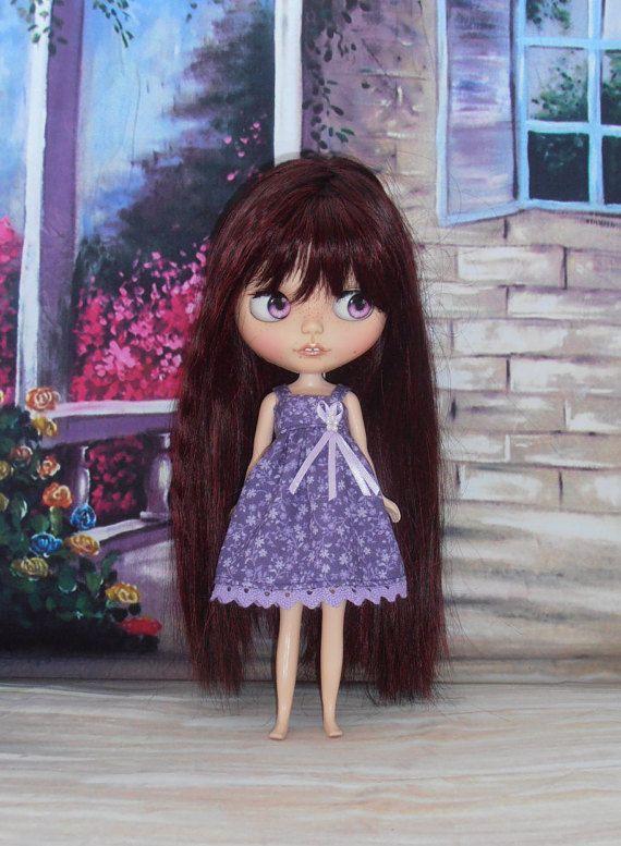 Blythe Dress ~ Strappy Purple Sundress ~ Blythe Doll Clothes Outfit
